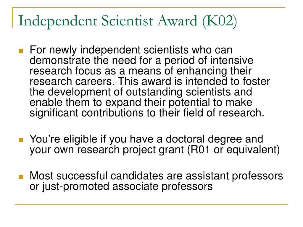 Independent Scientist Award (K02)
