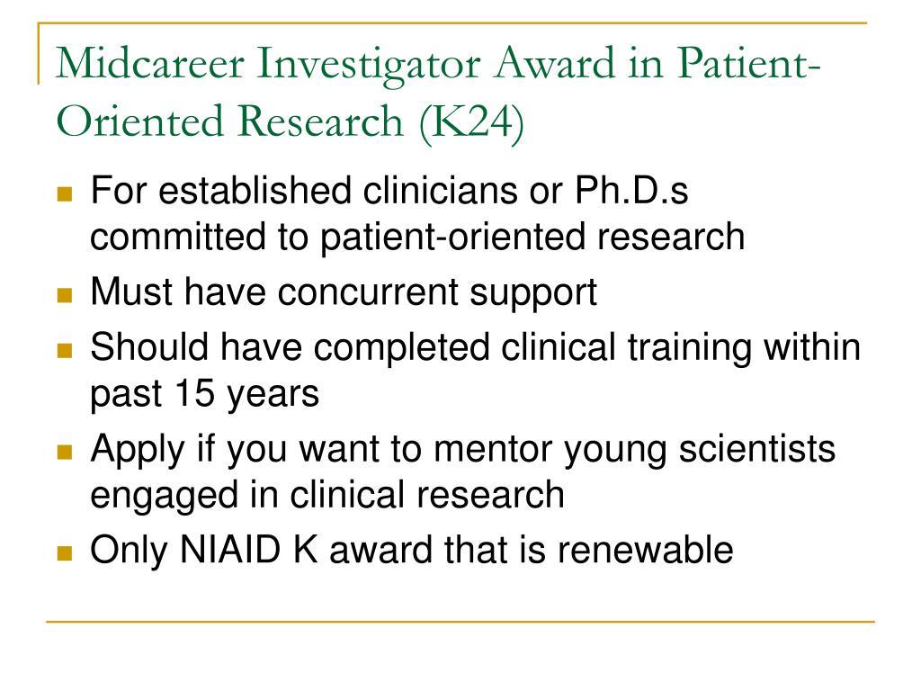 Midcareer Investigator Award in Patient-Oriented Research (K24)