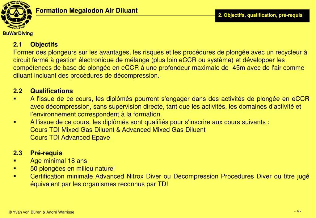 2. Objectifs, qualification, pré-requis