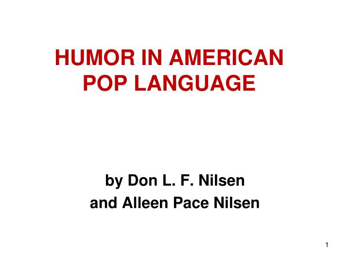 Humor in american pop language