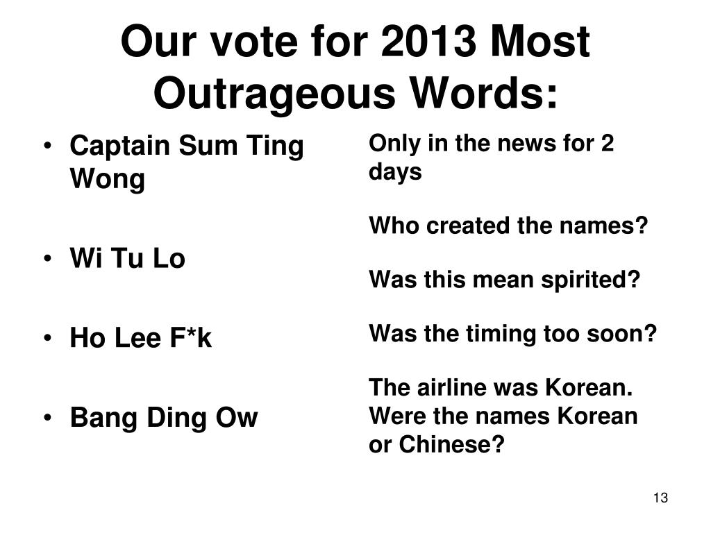 Our vote for 2013 Most Outrageous Words: