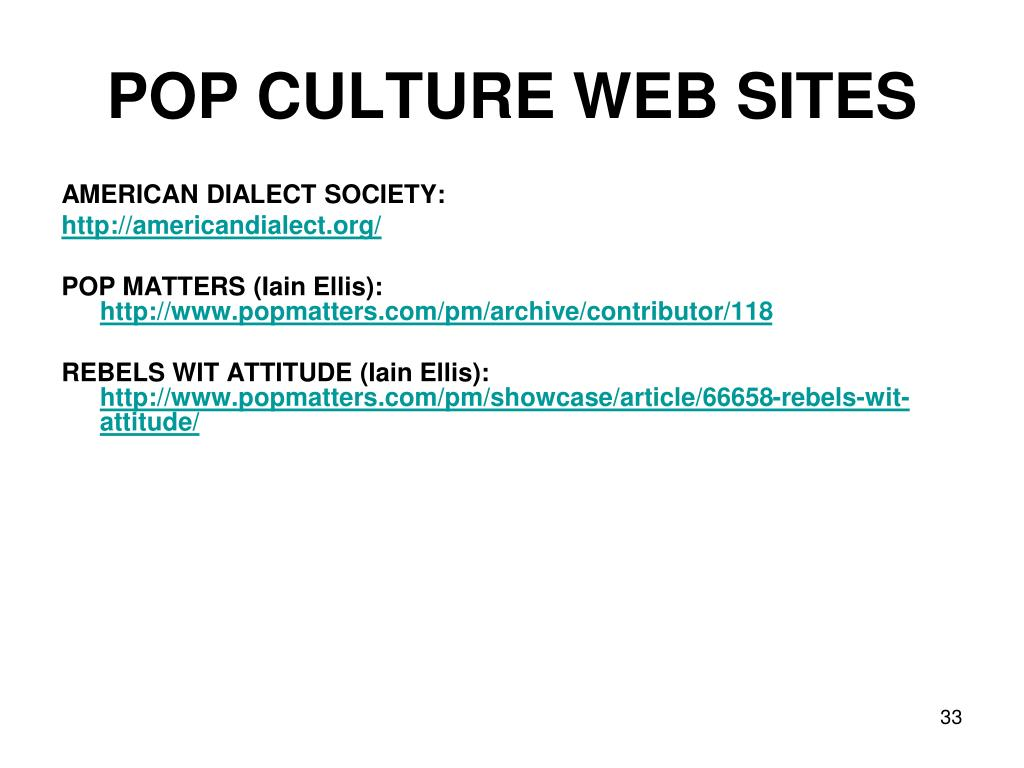 POP CULTURE WEB SITES