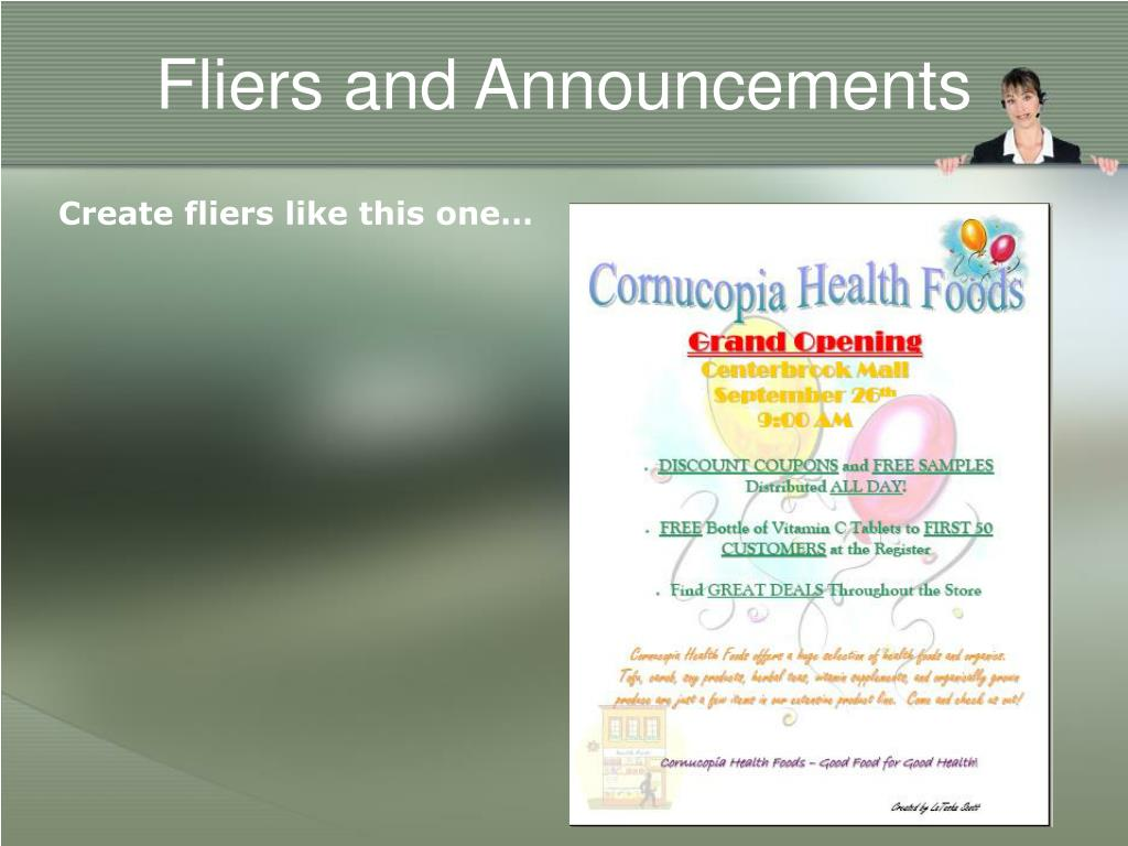 Fliers and Announcements