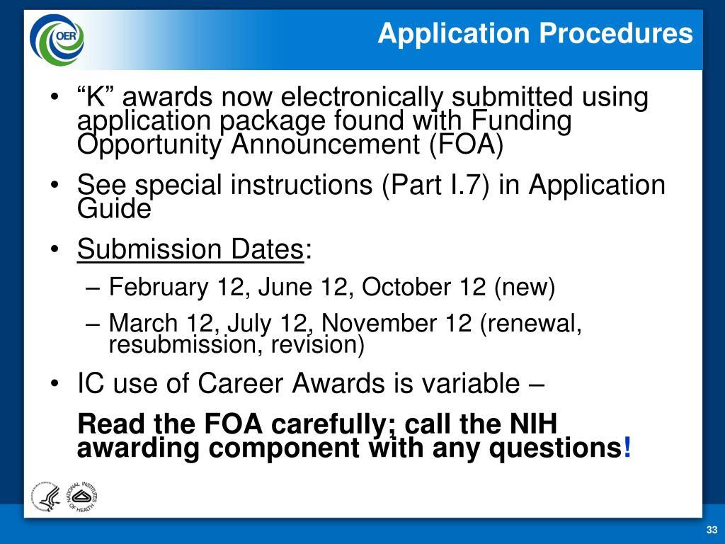 Application Procedures