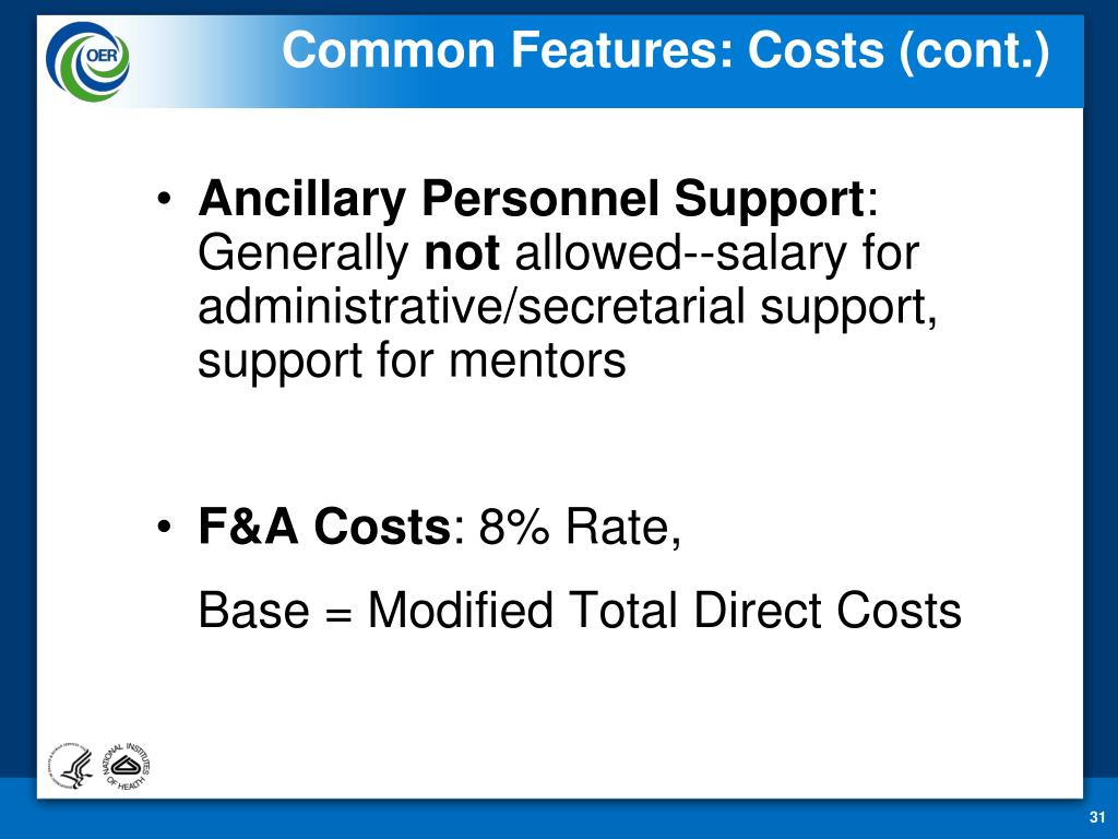 Common Features: Costs (cont.)