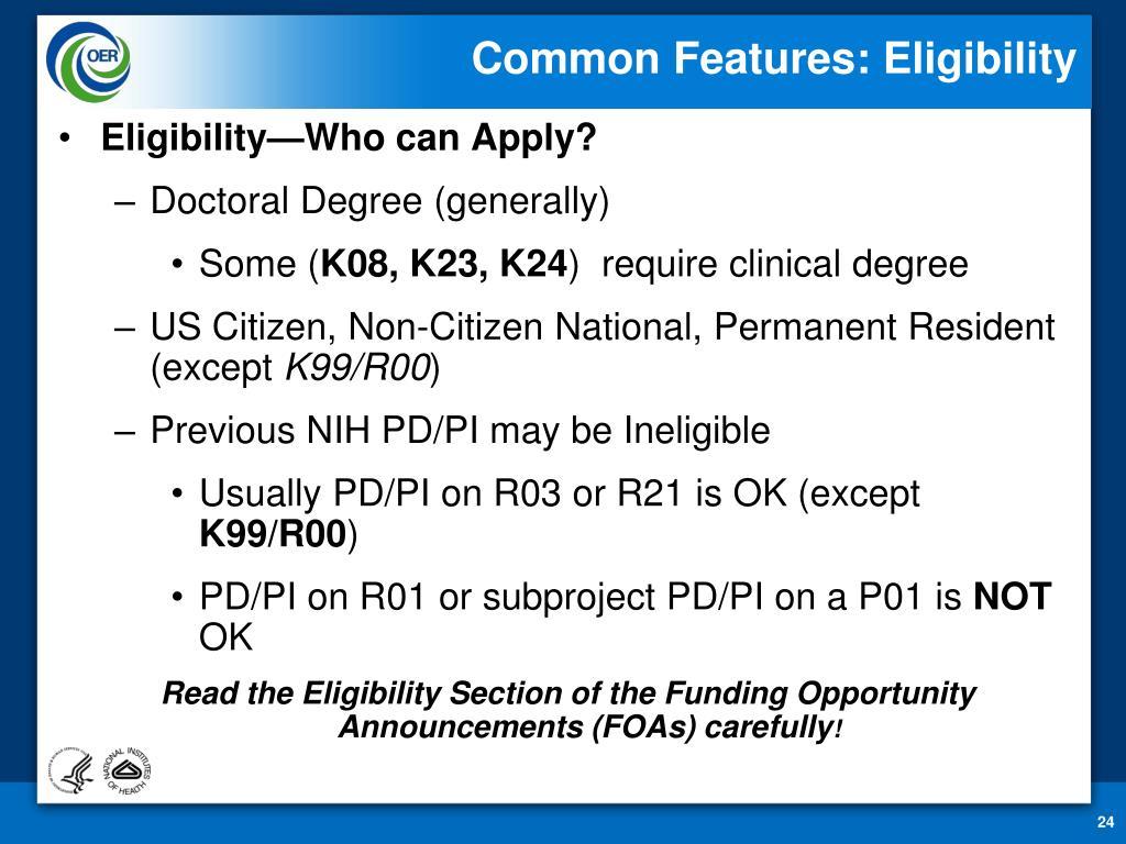 Common Features: Eligibility