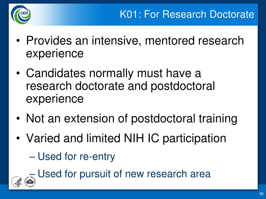 K01: For Research Doctorate