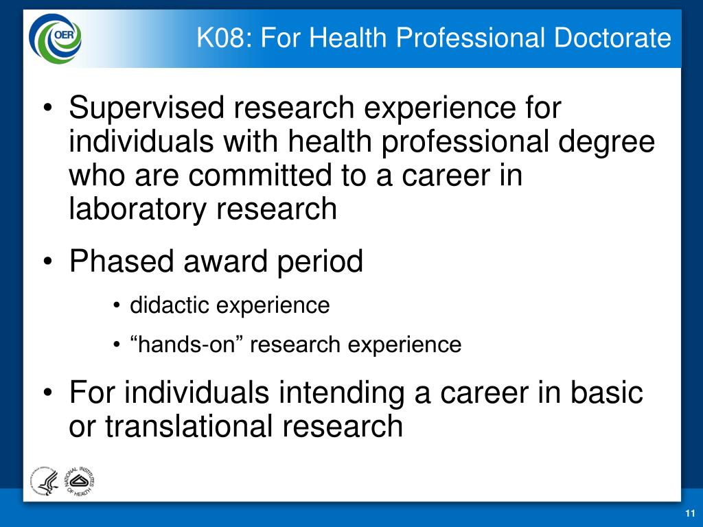 K08: For Health Professional Doctorate