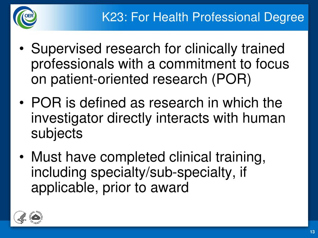 K23: For Health Professional Degree