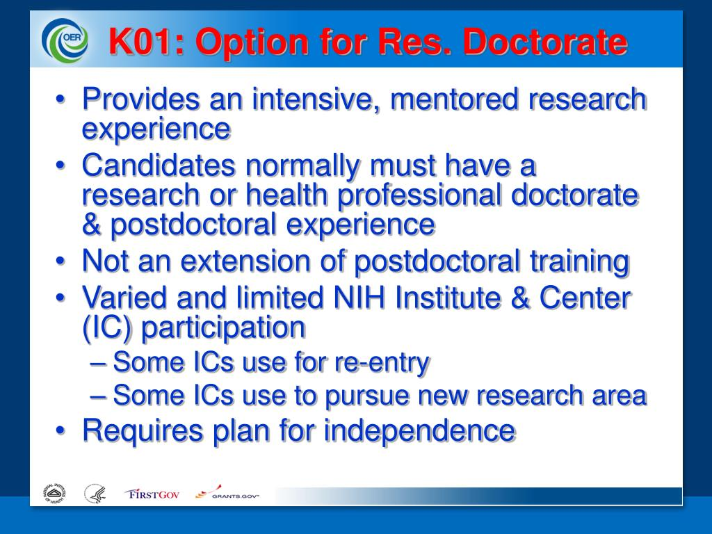 K01: Option for Res. Doctorate