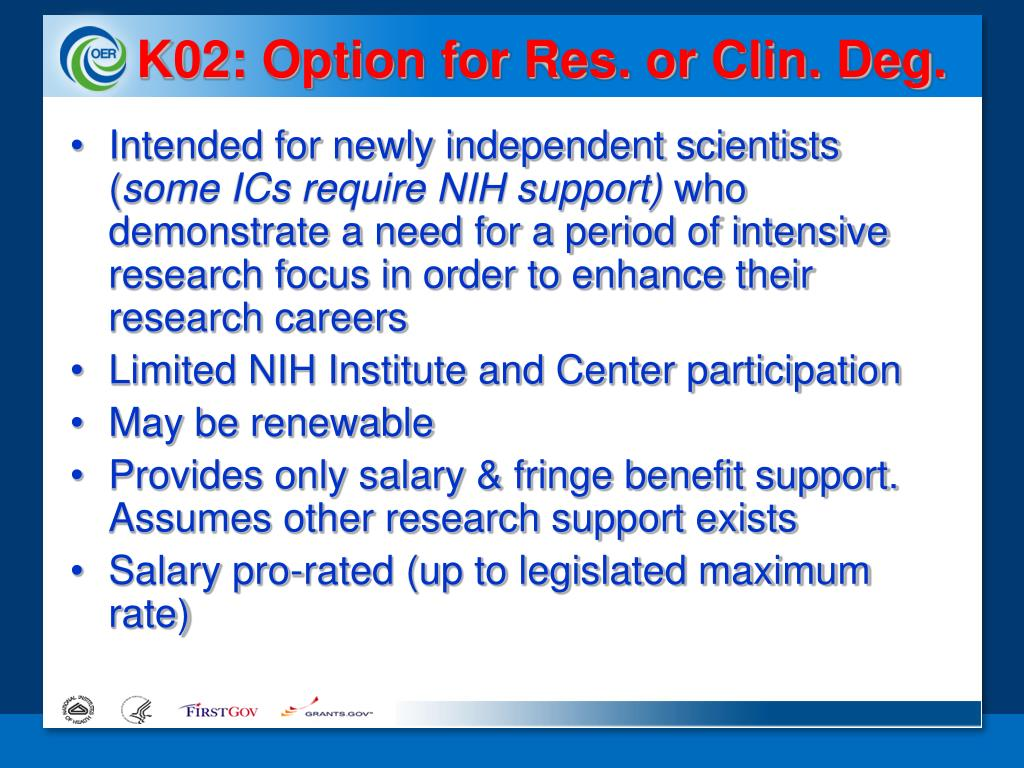 K02: Option for Res. or Clin. Deg.