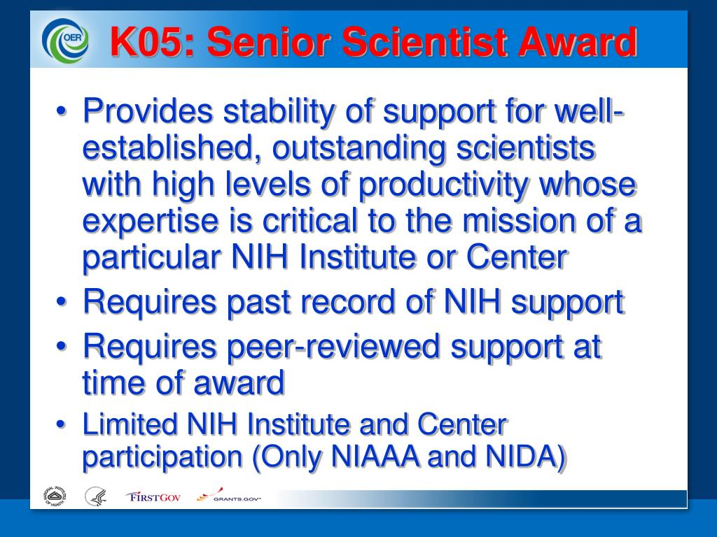 K05: Senior Scientist Award