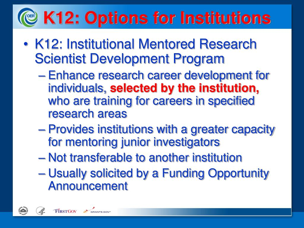K12: Options for Institutions
