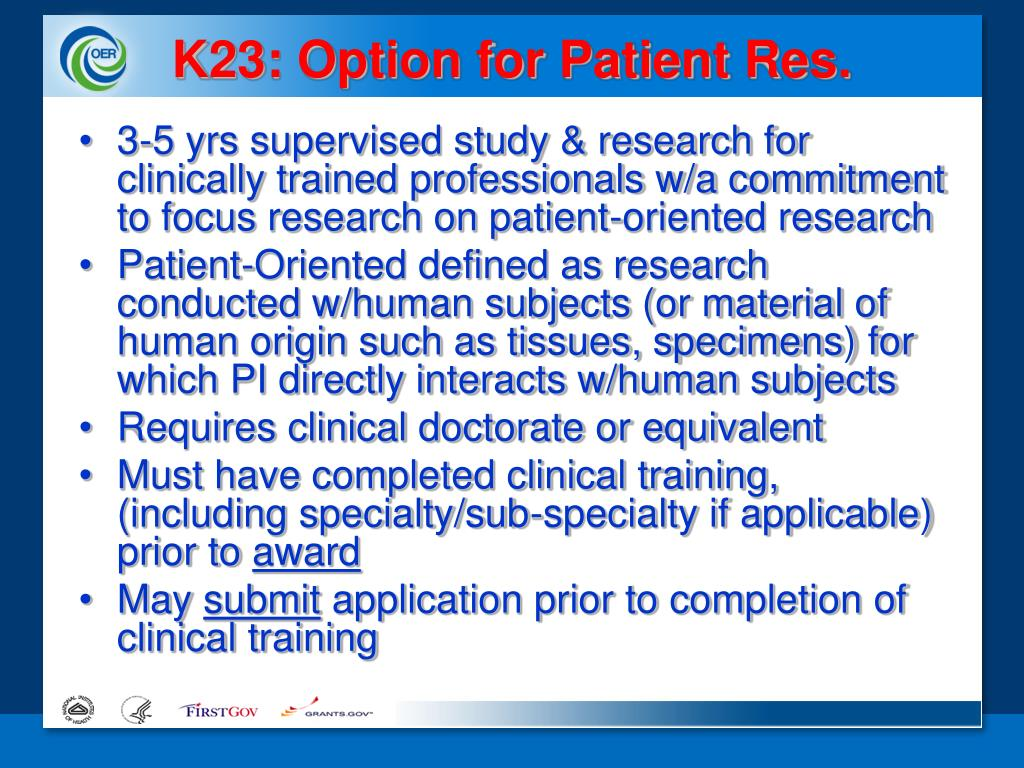 K23: Option for Patient Res.