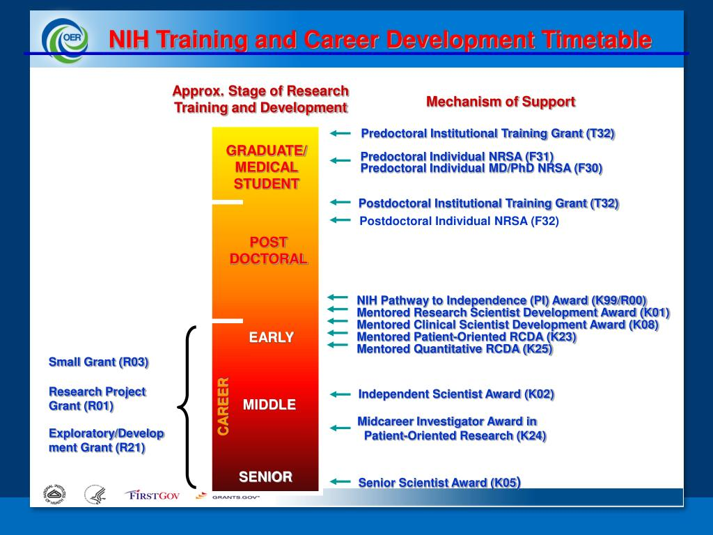 NIH Training and Career Development Timetable