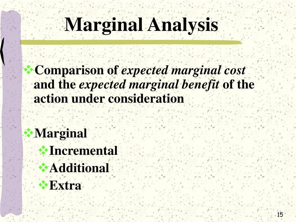 marginal analysis Marginal analysis: a basic technique used in economics that analyzes small, incremental changes in key variables marginal analysis is the primary analytical.