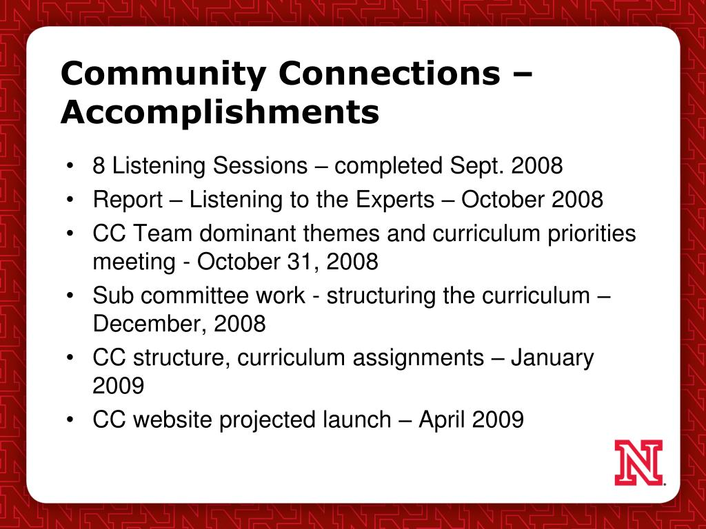 Community Connections – Accomplishments