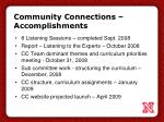 community connections accomplishments