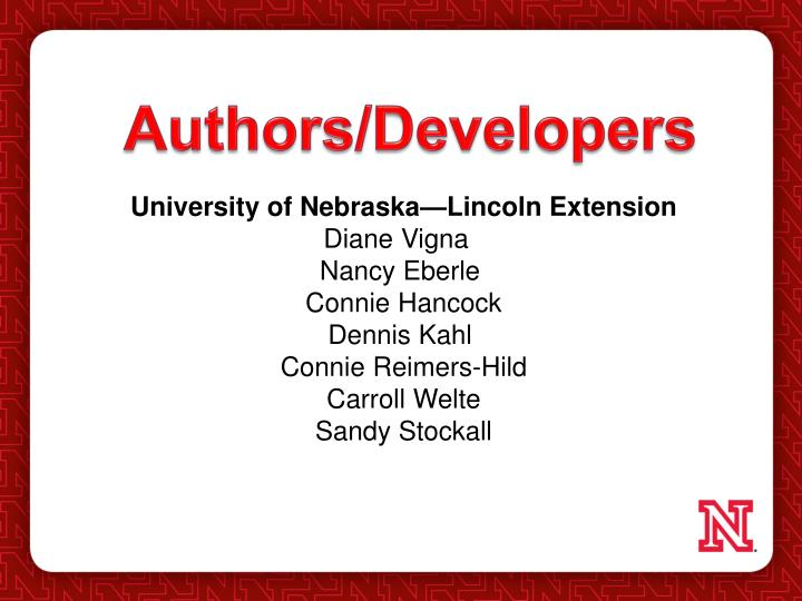 Authors/Developers