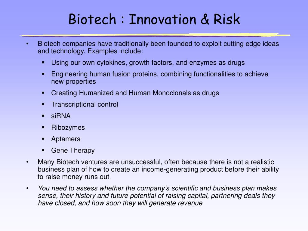 Biotech : Innovation & Risk