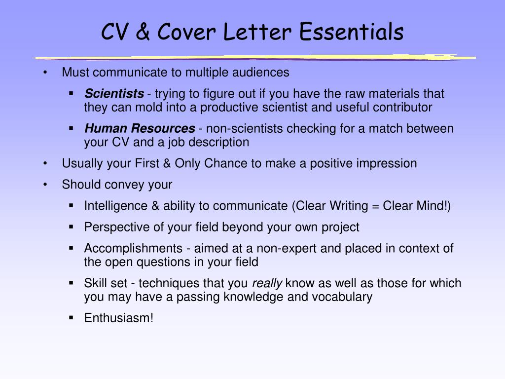 CV & Cover Letter Essentials