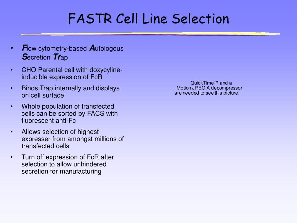 FASTR Cell Line Selection