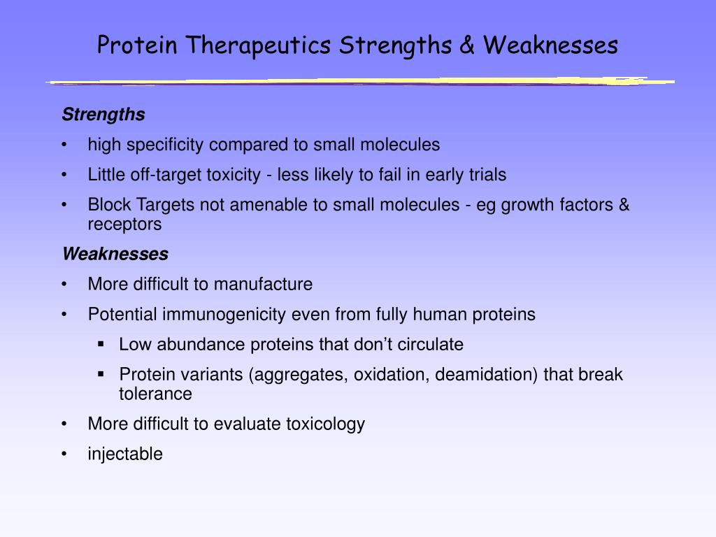 Protein Therapeutics Strengths & Weaknesses