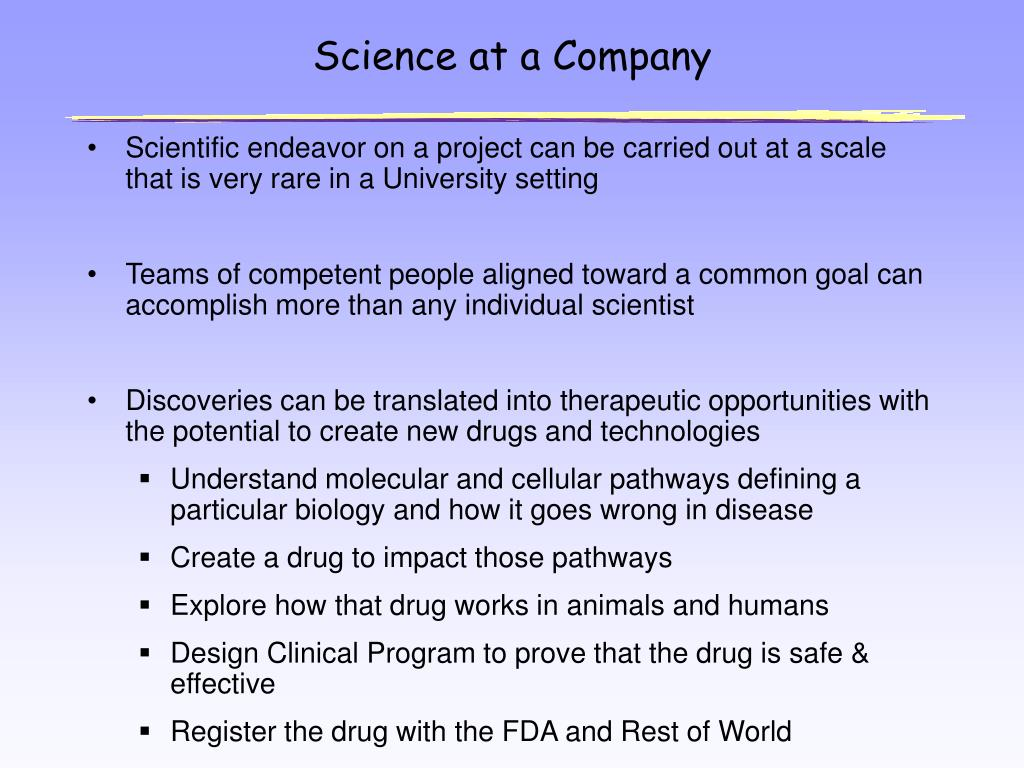 Science at a Company