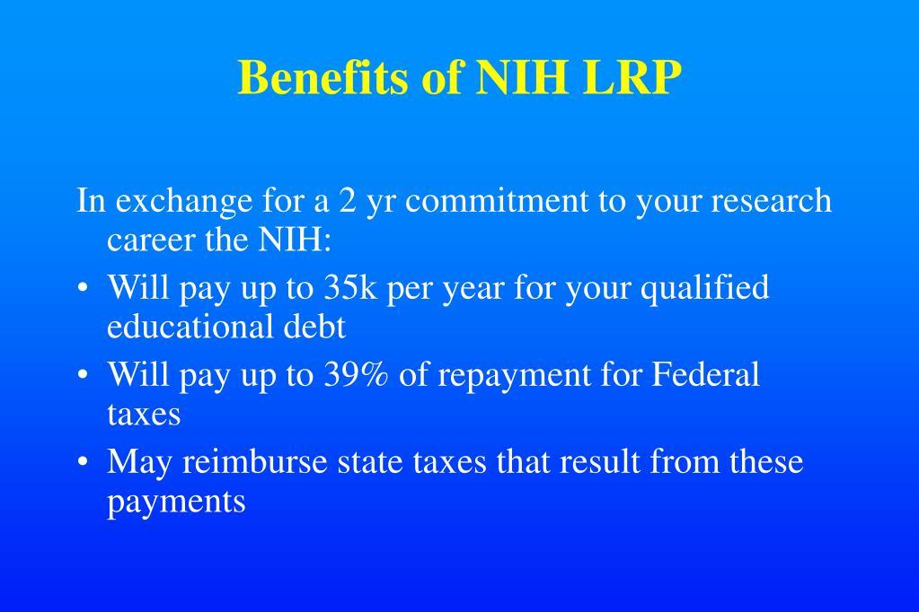 Benefits of NIH LRP
