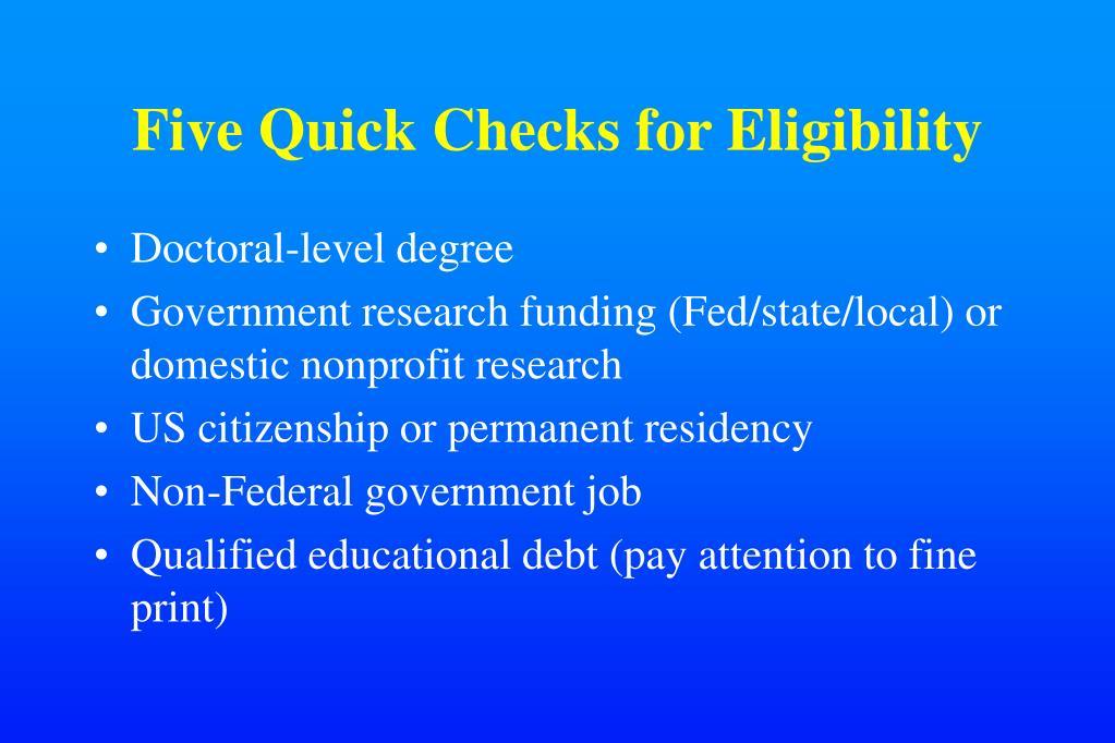 Five Quick Checks for Eligibility