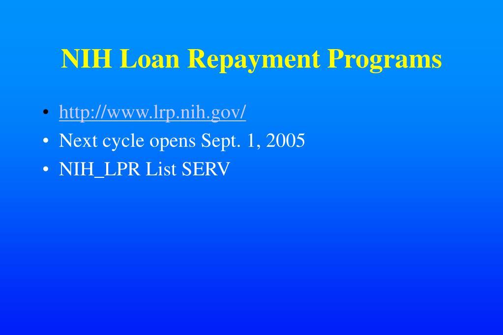 NIH Loan Repayment Programs