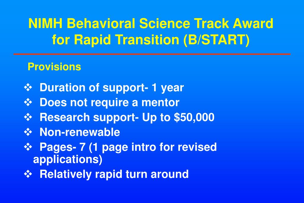 NIMH Behavioral Science Track Award for Rapid Transition (B/START)