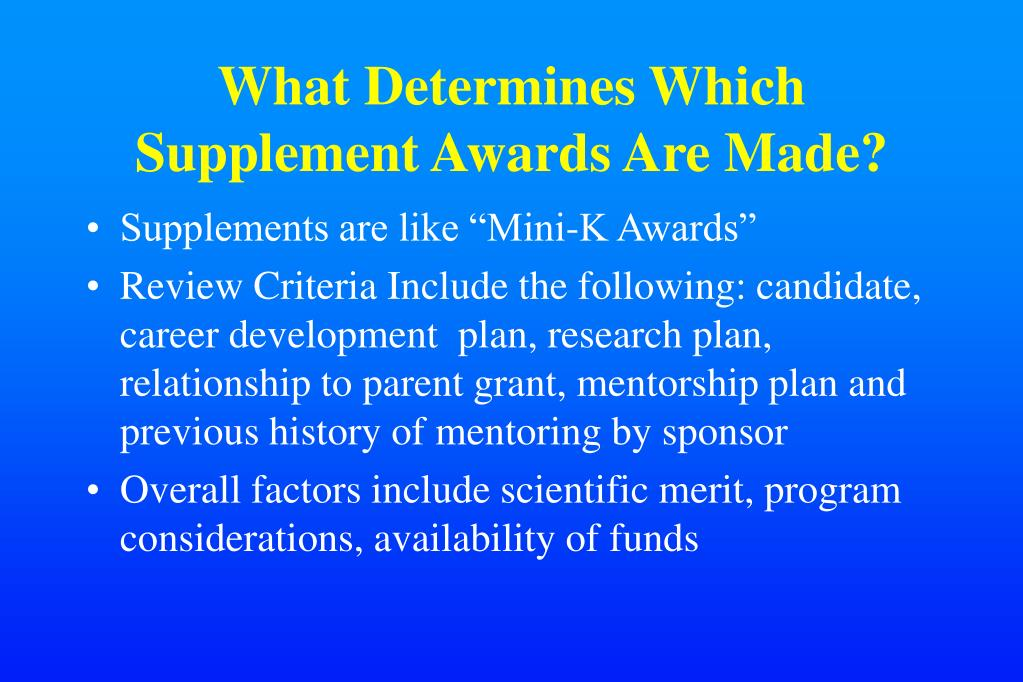 What Determines Which Supplement Awards Are Made?