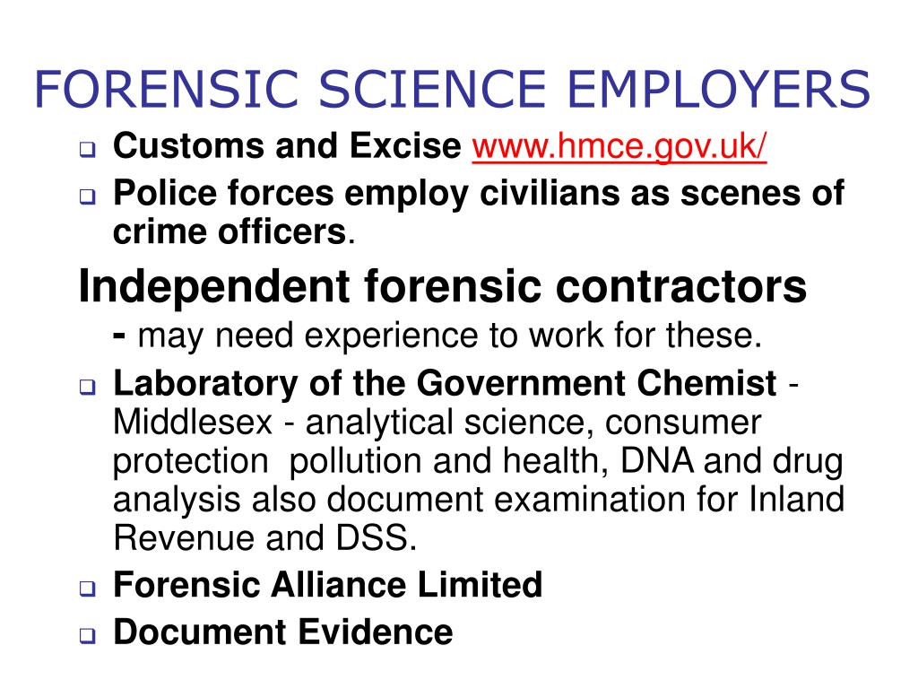 FORENSIC SCIENCE EMPLOYERS