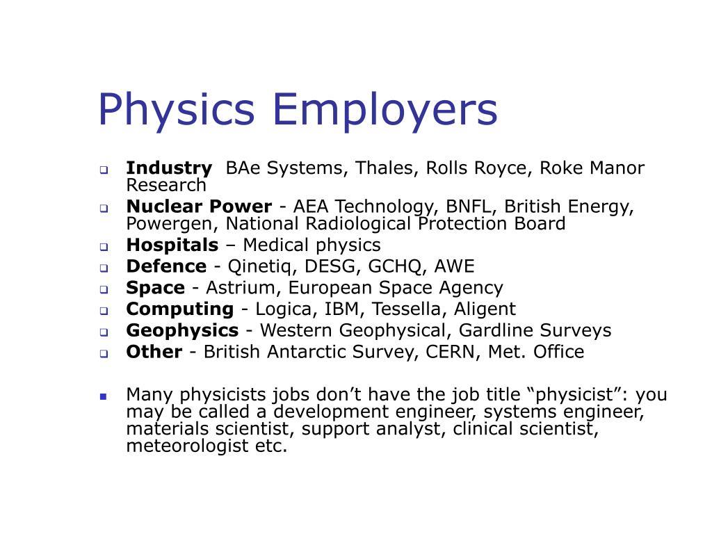 Physics Employers