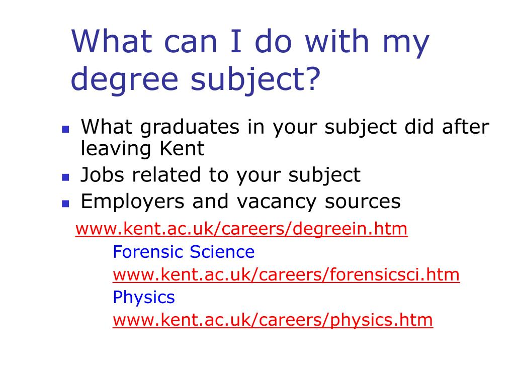 What can I do with my degree subject?