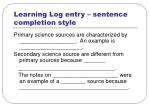 learning log entry sentence completion style