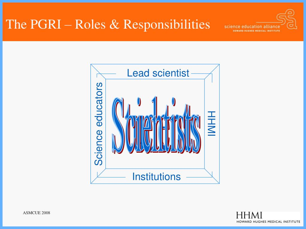 The PGRI – Roles & Responsibilities
