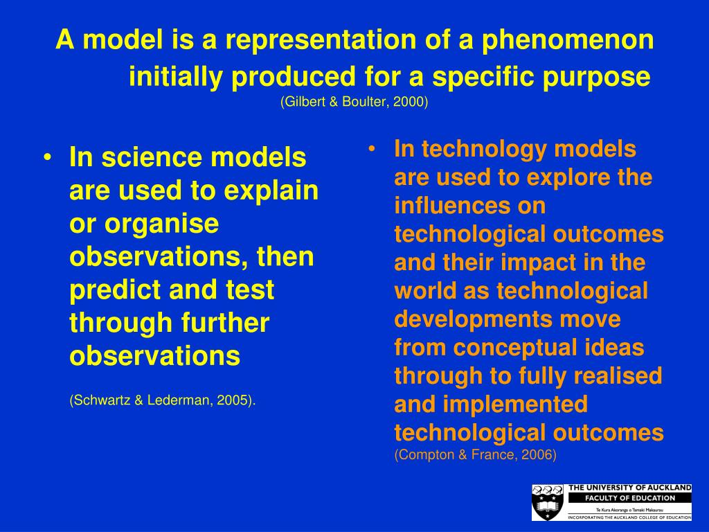 In science models are used to explain or organise observations, then predict and test through further observations