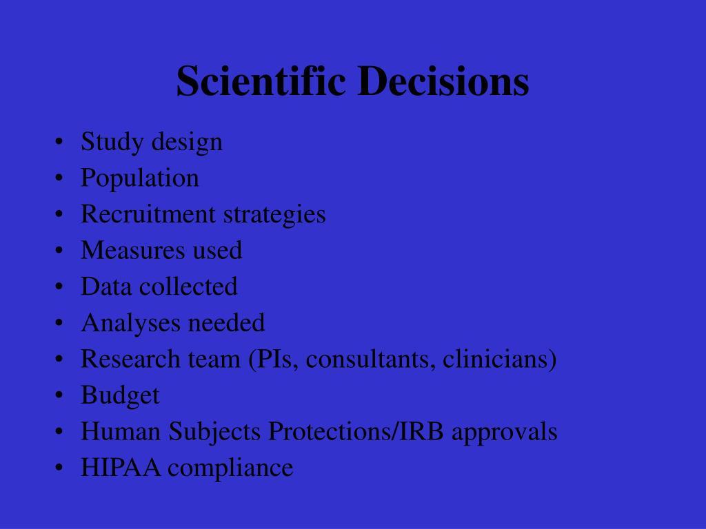 Scientific Decisions