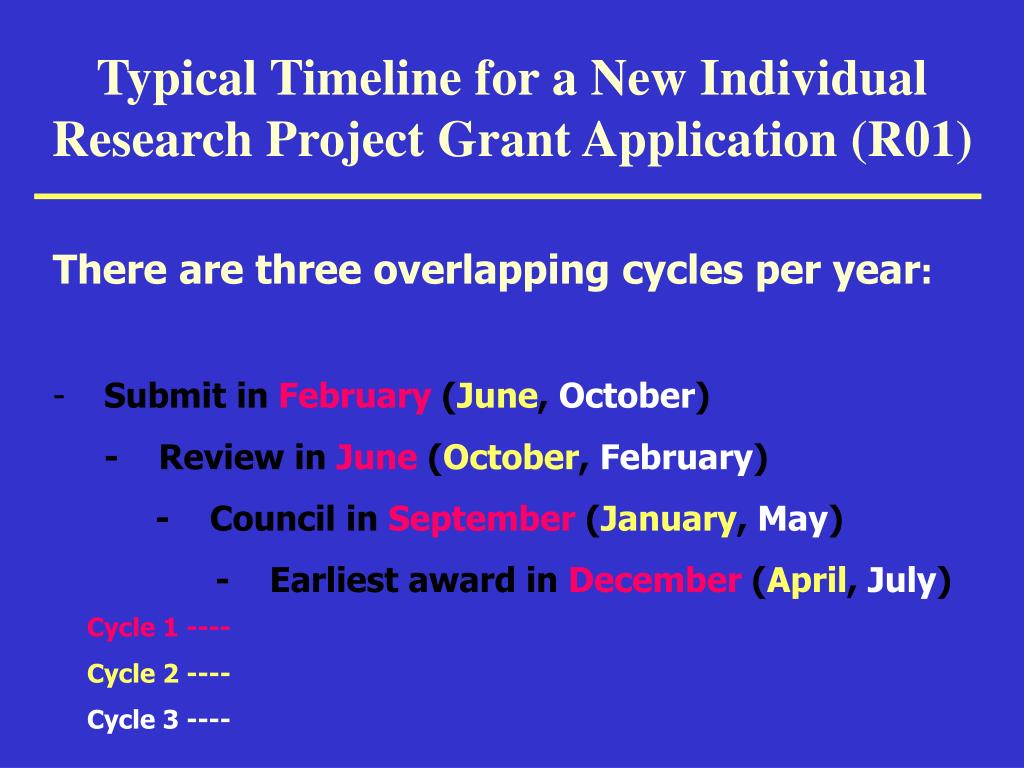 Typical Timeline for a New Individual Research Project Grant Application (R01)