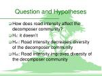 question and hypotheses
