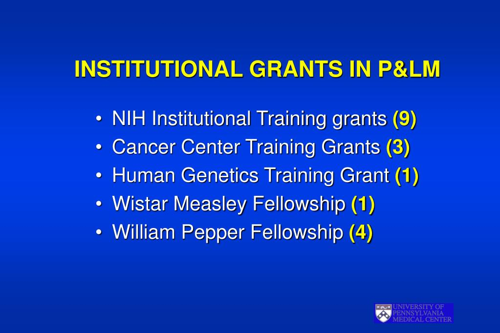 INSTITUTIONAL GRANTS IN P&LM