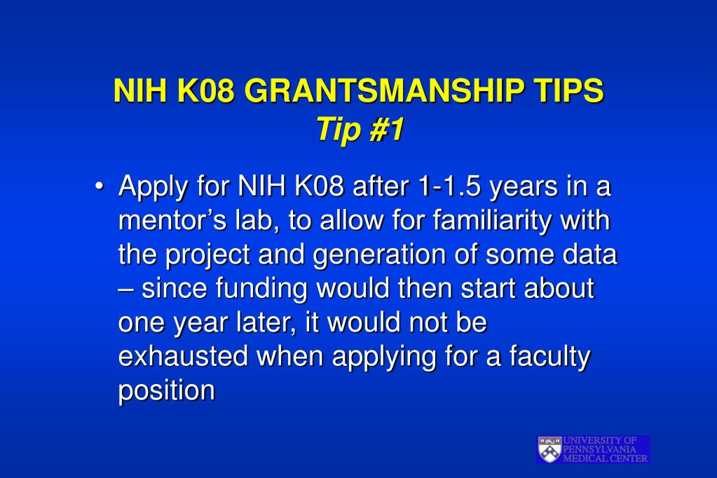 NIH K08 GRANTSMANSHIP TIPS