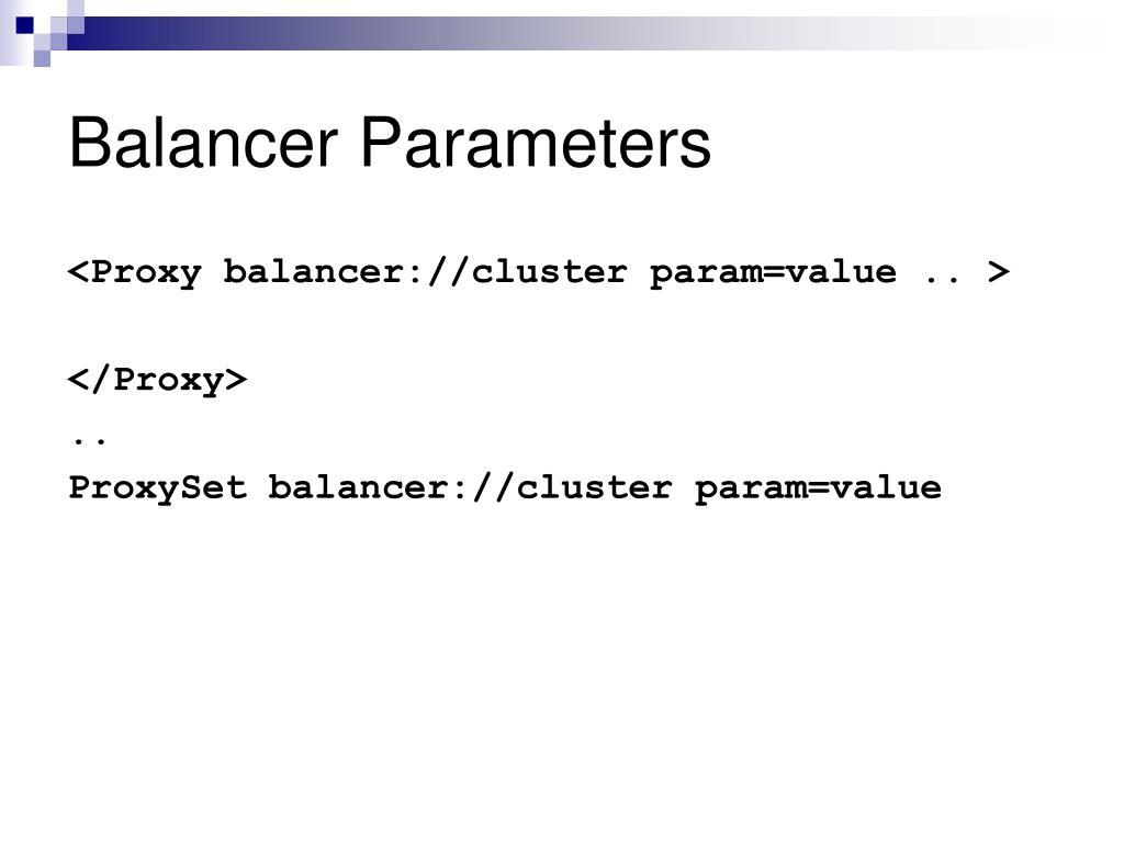 Balancer Parameters