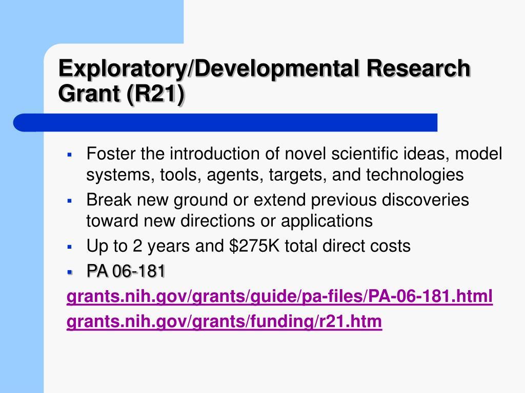Exploratory/Developmental Research Grant (R21)