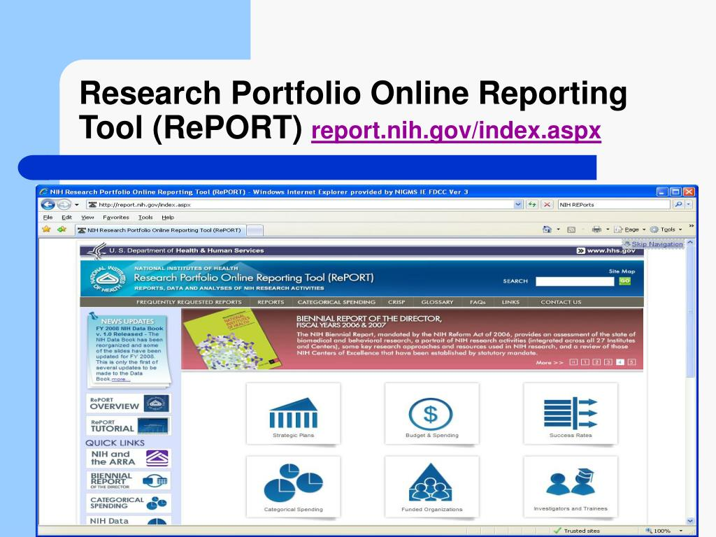 Research Portfolio Online Reporting Tool (RePORT)