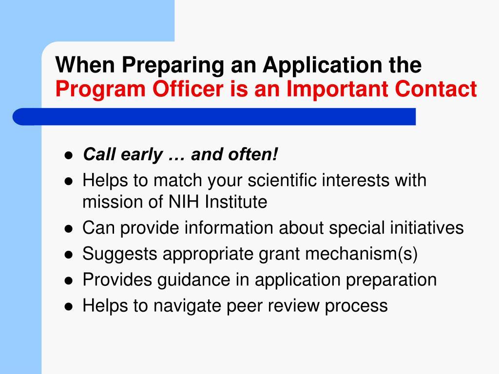 When Preparing an Application the