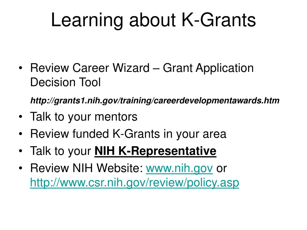 Learning about K-Grants