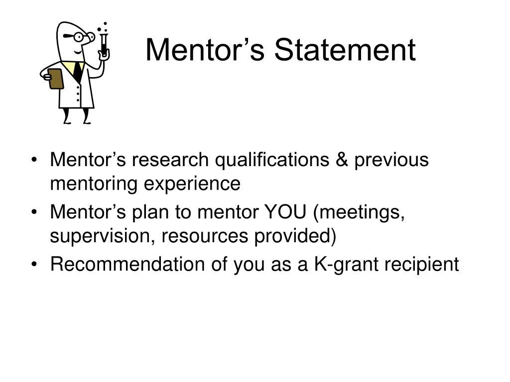 Mentor's Statement
